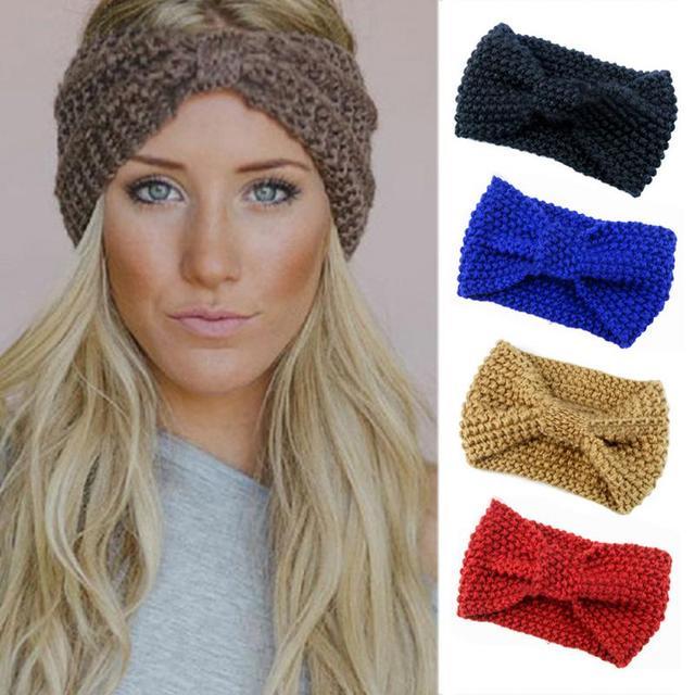 bandeau en tricot chaud laine pour femmes noeud turban tricot head wrap bandeau cheveux. Black Bedroom Furniture Sets. Home Design Ideas
