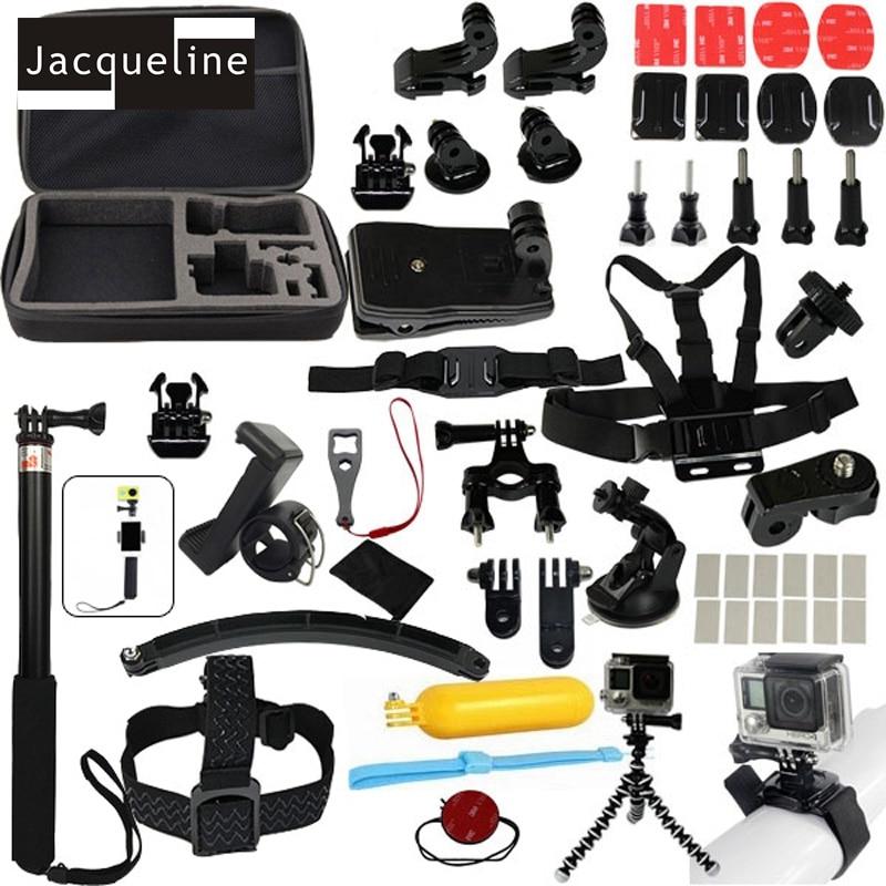 Jacqueline for Accessories Set for go pro hero 6 5 4 3 kit selfie stick monopod for Eken h8r h9r for xiaomi yi EVA case