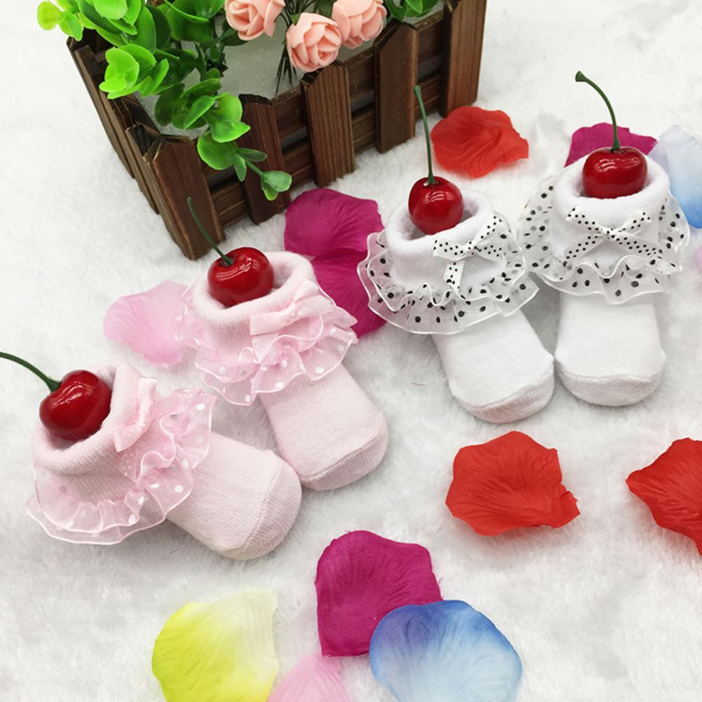 Newest Toddler Infants Cotton Ankle Sock Baby Girls Princess Bowknots Socks 0-6 Month