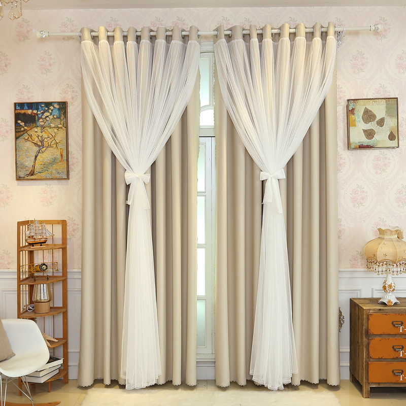 Senisaihon Korean Lace Curtains Shading Fabric + Tulle Double Layer Window Curtains Beige Bedroom Voile Curtains For Living Room