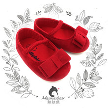 Newborn girl shoes red flannel baby shoes little girl walker first shoe with bowknot soft non-slip