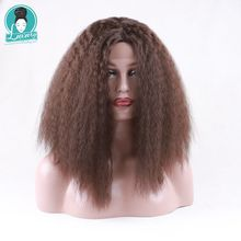 Luxury For Braiding 14inch Short Brown Color Kinky Curly  Heat Resistant Synthetic Glueless Lace Front Wig стоимость