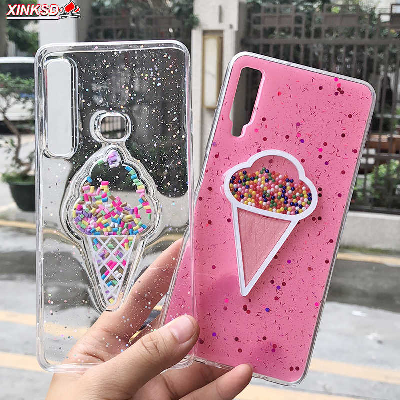 Liquid Heart Glitter Smile Face สำหรับ Samsung Galaxy S10 S9 J4 J6 plus A50 A20 A10 A7 A9 2019 soft TPU Dynamic ลูกปัด Cover