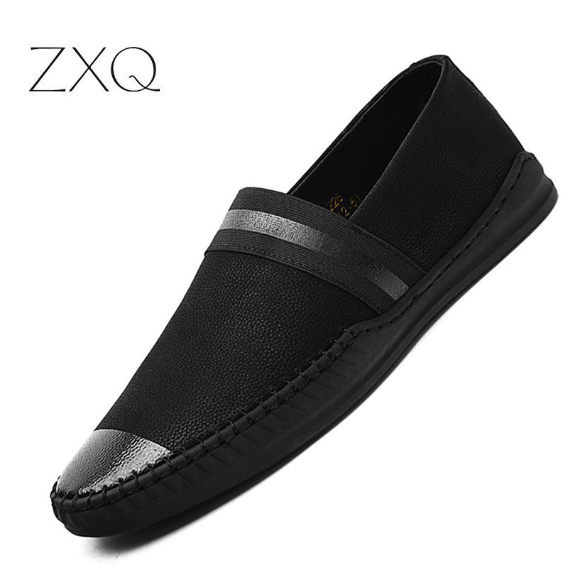 New Arrival Men Loafers Genuine   Leather   Pointed Toe Fashion Handmade Moccasins Soft   Leather   Black Slip On Men's Boat Shoe