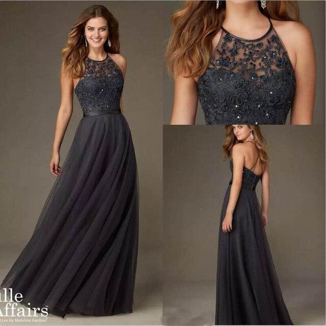 acheter 2017 new halter robe de demoiselle d 39 honneur longue avec dentelle de. Black Bedroom Furniture Sets. Home Design Ideas