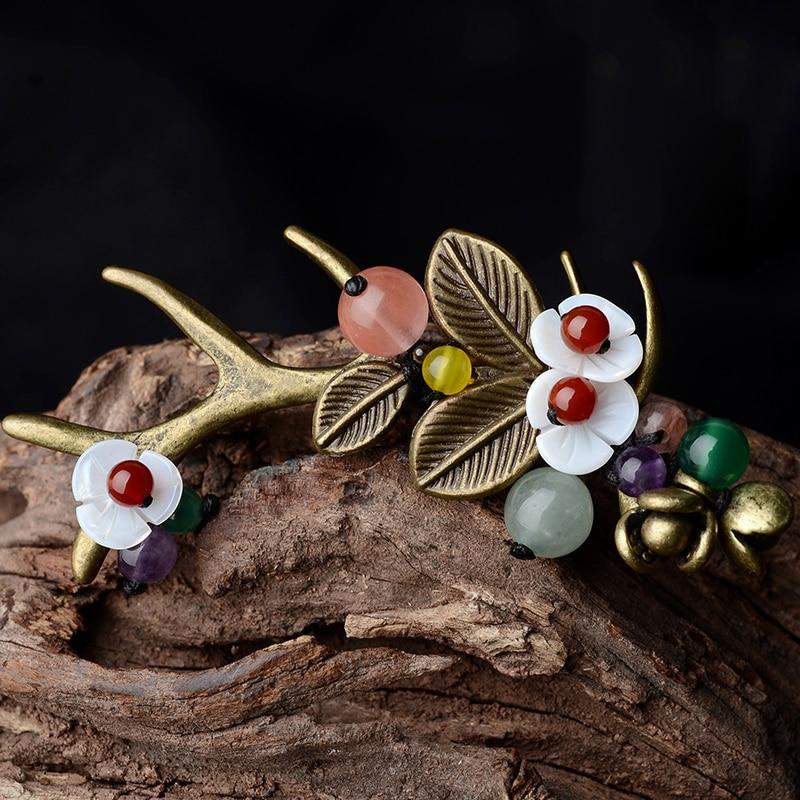 Deer Horn Fashion sea shell vintage brooch,watermelon crystal ethnic brooch pins, new flowers brooch sika deer style rhinestone zinc alloy brooch golden