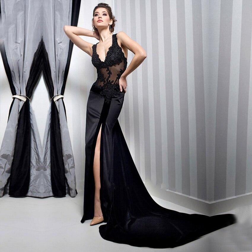 d1b1b24e81a Robes De Noite Sexy profond col v noir dentelle Robe De soirée 2015 longue  sirène robes élégantes longue Robe De bal Robe soirée dans Robes De Soirée  de ...