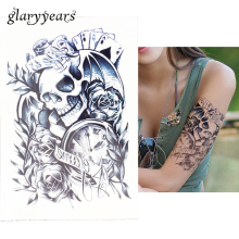1 PC Hot Removable Temporary Skull Poker Time Women Fake Health Body Art Tatoo HB049 Waterproof Flower Arm Sleeve Tattoo Sticker