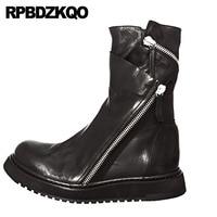 искусственный мех Корейский роскошь Настоящая кожа обувь молния плоские зимняя Runway полусапожки мужская высокое качество осенняя черный по