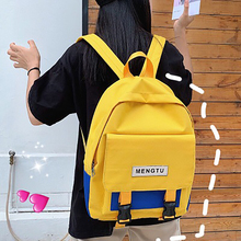 Contrast Color Flip Backpack For Women Harajuku Style Campus Student SchoolBag Oxford Cloth Girls Backpack Casual Travel Bags 2018 new backpack backpack korean casual student schoolbag campus hand painted cat backpack