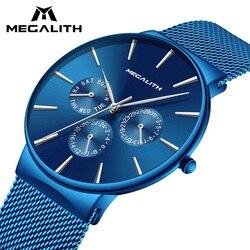 Для мужчин s часы мегалит лучший бренд класса люкс Водонепроницаемый наручные часы ультра тонкий дата простая Повседневное кварцевые часы ...
