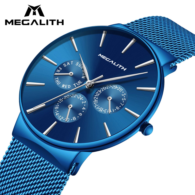 Mens Watches MEGALITH Top Brand Luxury Waterproof Wrist Watches Ultra Thin Date Simple Casual Quartz Watch For Men Sports Clock