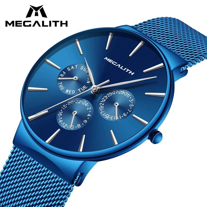 Relojes para hombre, relojes de pulsera impermeables de lujo de marca MEGALITH, reloj de cuarzo informal, fecha ultrafina, para hombre, reloj deportivo