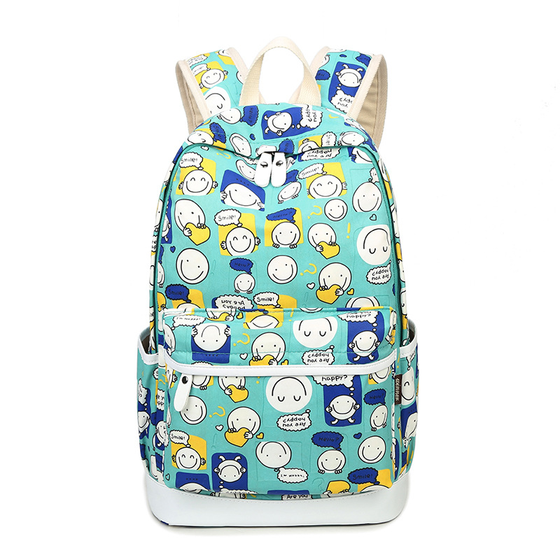 High Quality 2017 New Smile Emoji Printing Backpack Cartoon Kawaii School Bags Canvas Schoolbag Backpack Travel Laptop Backpack