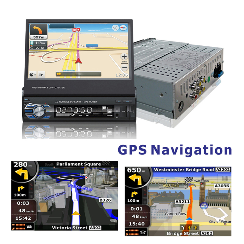 Podofo 1din Autoradio GPS Navigatie 7 HD Intrekbare Screen MP5 Speler Bluetooth Stereo Spiegel Link Autoradio Rear View camera - 2