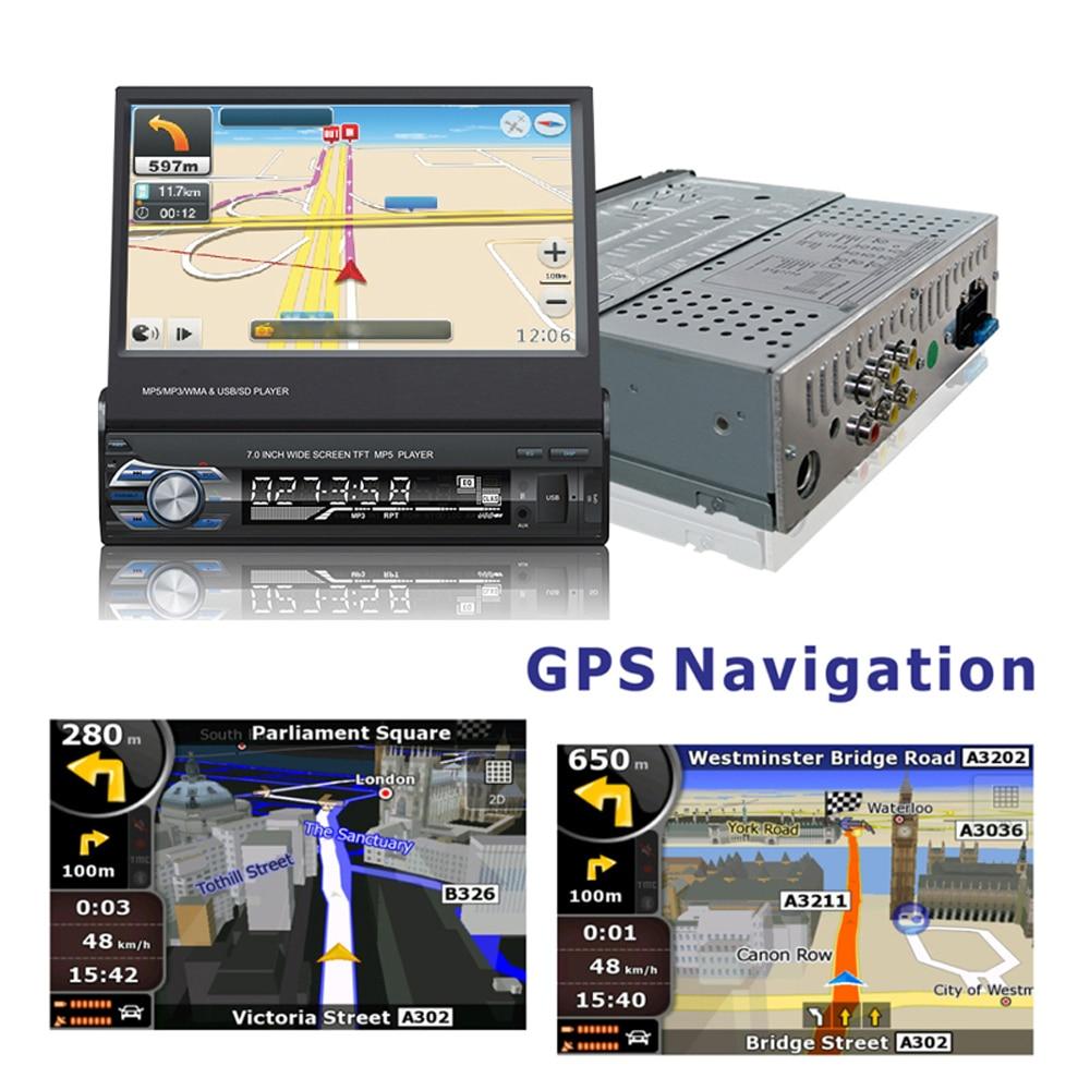 Podofo 1din coche Radio navegación GPS 7 HD retráctil pantalla MP5 reproductor Bluetooth Estéreo espejo enlace Autoradio cámara de visión trasera - 2