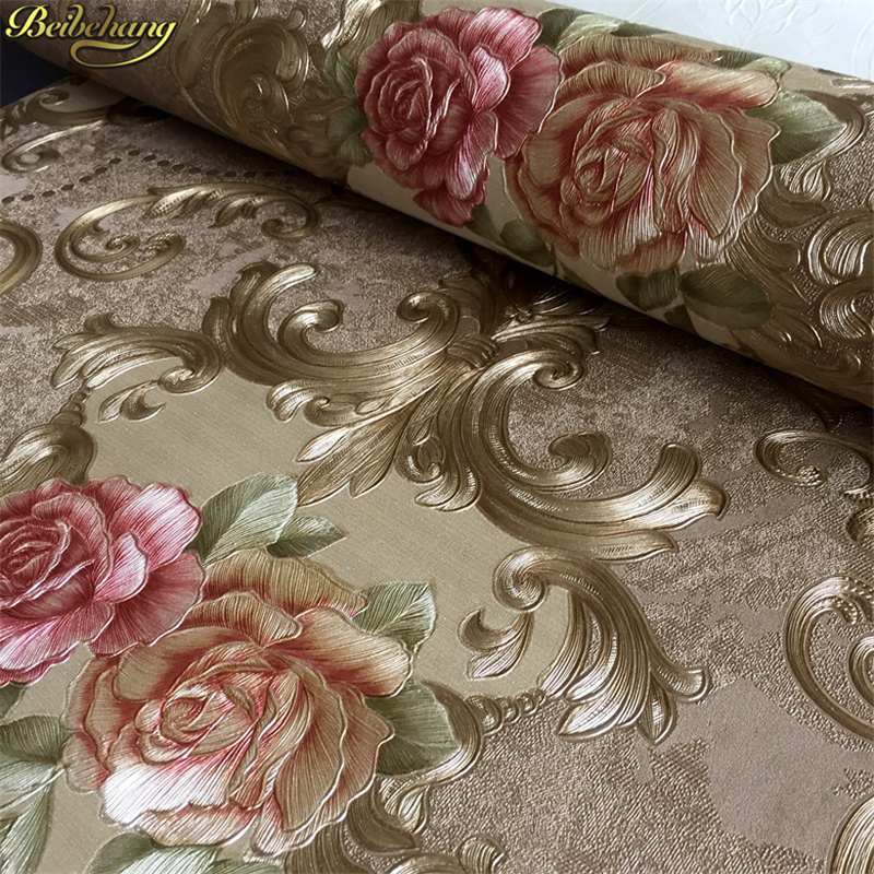 beibehang American European pastoral flowers wallpaper for walls 3 d Wall Paper roll PVC Embossed Waterproof Living Room Bedroom beibehang high quality embossed wallpaper for living room bedroom wall paper roll desktop tv background wallpaper for walls 3 d