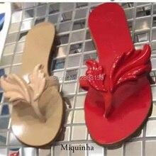 New Summer Loisirs feuille femmes flip flops chaussures flamme plage dames appartements sandales argent rouge noir