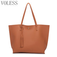 Brand Casual Totes Bags Women Shoulder Bag Soft Leather TopHandle Bags Ladies Tassel Tote Handbag High