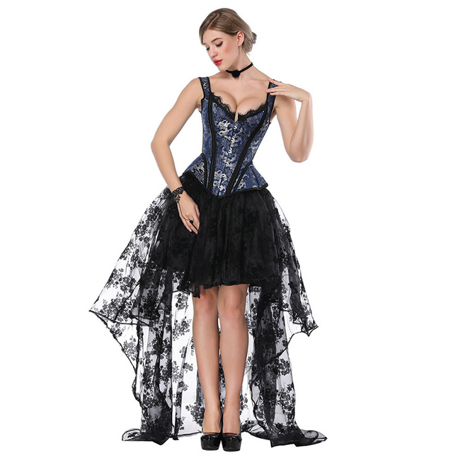 063f0df43c Blue   Black Steampunk Costume Women Corpetes E Corselet Sexy Corset Dress  Victorian Gothic Clothing Dresses