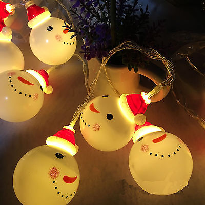 Faroot NEW 10 LED Warm White Snowman String Fairy Lights Party Christmas Decor Outdoor Indoor