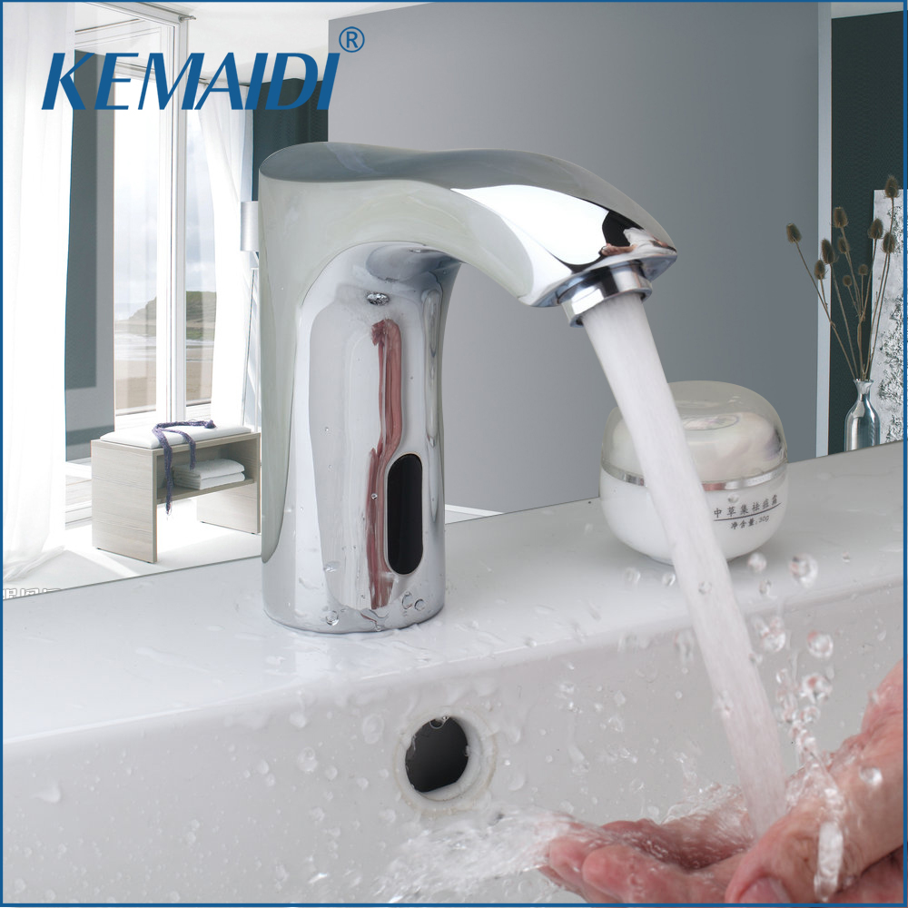 KEMAIDI New Automatic Sensor Hand Free Waterfall Bathroom Basin Sink Faucet Chrome Hot And Cold Mixer Tap Bathroom Sense Faucets free shipping polished chrome finish new wall mounted waterfall bathroom bathtub handheld shower tap mixer faucet yt 5333