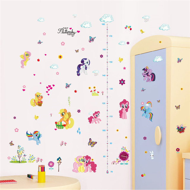 Cartoon Height Measure Growth Chart Wall Stickers For Kids Rooms