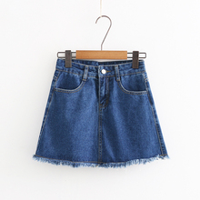 summer new European and American pure color high waist solid jeans skirt female, wild thin A word female