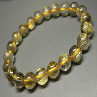 Genuine Brazil Yellow Hair Titanium Rutilated Quartz Fashion Jewelry Round Loose Bead 8 5mm Natural Crystal