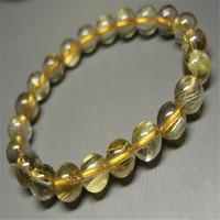 Genuine Brazil Yellow Hair Titanium Rutilated Quartz Fashion Jewelry Round Loose Bead 8 5mm Natural Crystal