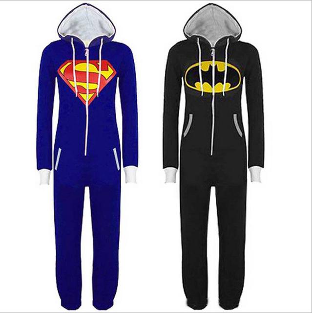 Otoño Invierno hombre Ropa Conjoined Batman Superman Ropa de Dormir Onesie Cosplay del Equipamiento Casero de la ropa de Noche Salón Homewear JA5029