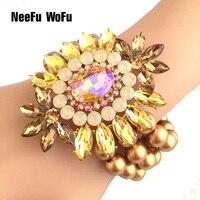 NeeFuWoFu Exagération Marque Bracelets Perle Perles Cristal Bracelets Charm Bracelet Pour Les Femmes Amis Célèbre Cadeau Bijoux Pulseras