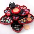 1 Unids Profesional multicolor Rotación Flor Forma de sombra de Ojos Fundación Colorete En Polvo Lápiz Labial Rimel Maquillaje Kit #88016