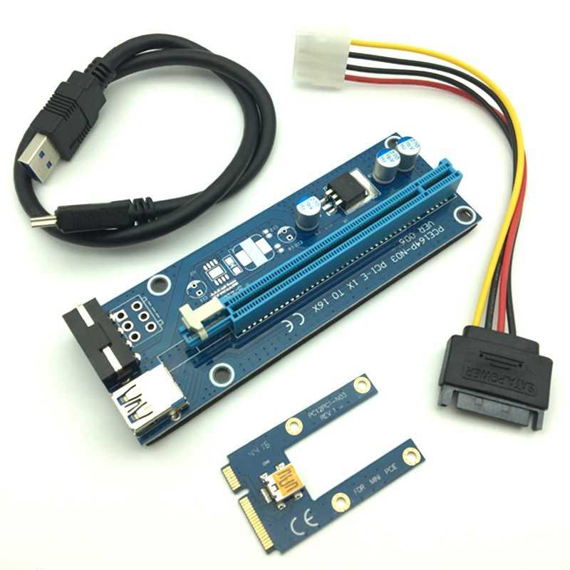 مصغرة بكيي الناهض بطاقة Pci-E Pci اكسبرس 1X إلى 16X Usb 3.0 كابل Sata إلى 4Pin Ide موليكس امدادات الطاقة ل Btc ماكينة عامل المناجم مينين