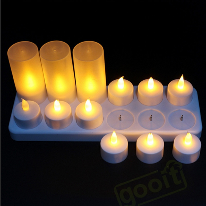 12 pieces Yellow Flickering Candle <font><b>led</b></font> rechargeable,red Flameless bougie <font><b>led</b></font> rechargeables,RGB Battery Operated <font><b>led</b></font> light candle image
