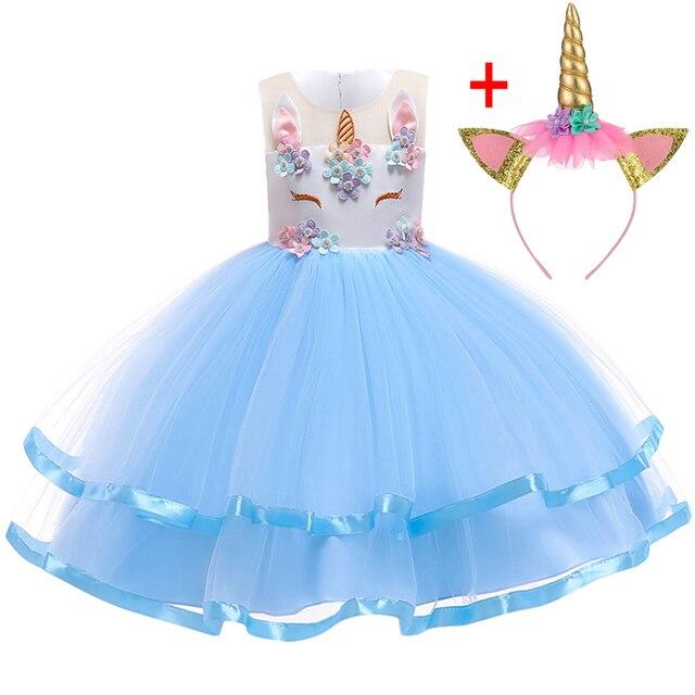 Unicorn Dress Christmas Kids Dresses For Girls Moana Elsa Costume Girls Princess Dress Children Birthday Party Dress fantasia 2