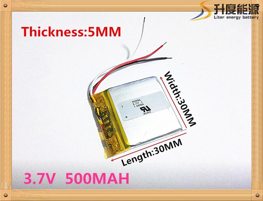 Free shipping Polymer battery 500 mah 3.7 V 503030 smart home MP3 speakers Li-ion battery for dvr,GPS,mp3,mp4,cell phone,speaker