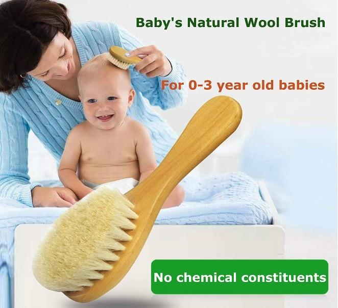 1PCS Baby Hair Brush Comb Set Baby Hair Wood Comb Pure Natural Wool Shampoo Bath Brush
