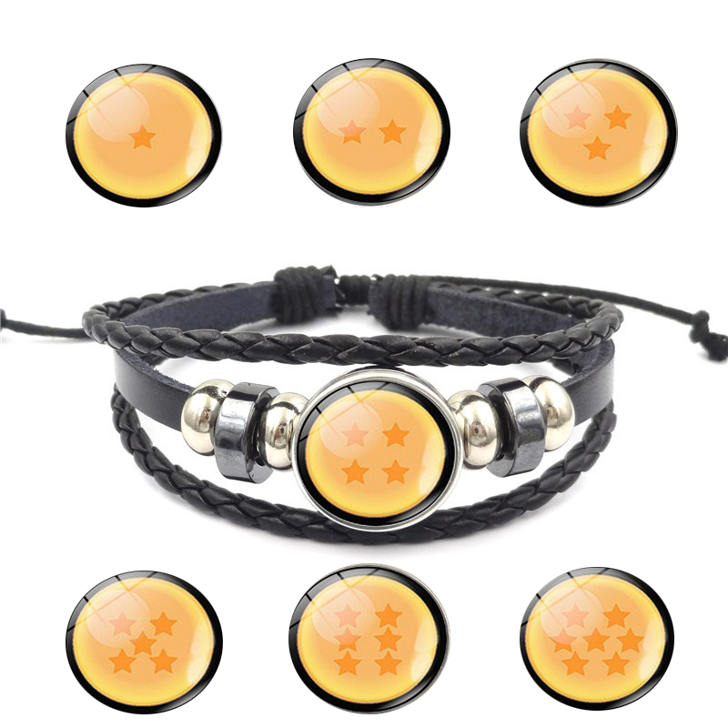 Classic Anime Dragon Ball Figure Hot Toys Multi-layer Woven Leather Bracelet Son Goku Glass Cabochon Bracelet Kids Children Gift