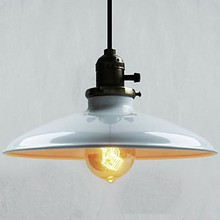60 Вт ретро Лофт стиль Edison Винтаж промышленный подвесной светильник с белой металлической пластиной абажур, Luminarias
