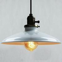 60W Retro Retro Loft Style Edison Vintage Industrial Pendant Light Lamp with White Metal Plate Shade,Luminarias