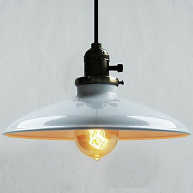 60W Retro Retro Loft Style Edison Vintage Industrial Pendant Light Lamp with White Metal Plate Shade,Luminarias