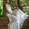 Crochet Lace Beach Dress Deep V Neck Sexy Cover Up Saida De Praia Lady Long Beach
