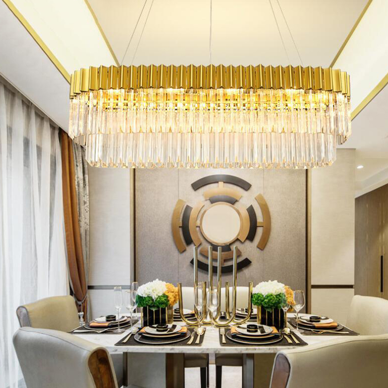 Jmmxiuz New Rectangular Pendant Lights Modern Lamp Ac110v: Jmmxiuz Luxury Design Modern Chandelier Crystal LED Lamp