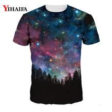 Stylish Men Women Galaxy Forest 3D Print T shirt Casual Tee Shirts Tops Unisex Short Sleeve Harajuku Graphic Tees Shirt men forest print tee