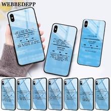 WEBBEDEPP Ed Sheeran Lyrics Pictures Diy Glass Phone Case for Apple iPhone 11 Pro X XS Max 6 6S 7 8 Plus 5 5S SE