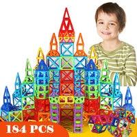 새로운 184 개 미니 자기 디자이너 건설 세트 모델 및 건물 장난감 플라스틱 자기 블록 교육 장난감 선물