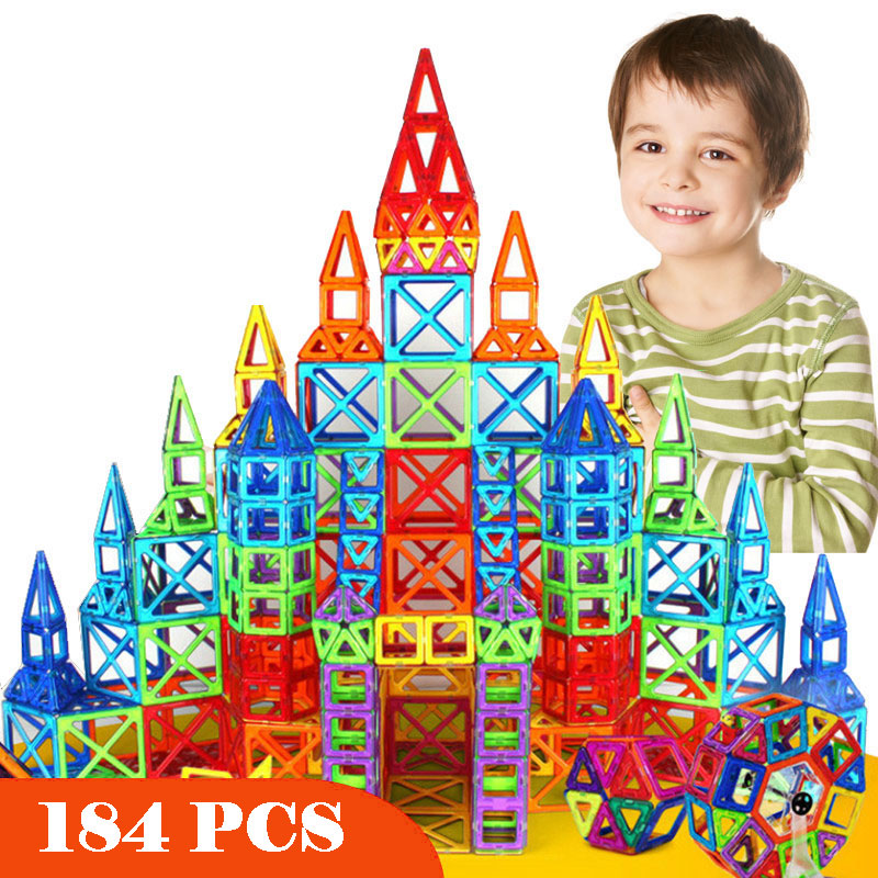 New 184pcs Mini Magnetic Designer Construction Set Model & Building Toy Plastic Magnetic Blocks Educational Toys For Kids Gift mrpomelo 100pcs magnetic blocks toy with sled ufo wheels alphabets 2017 educational magnetics building block set toys for kids