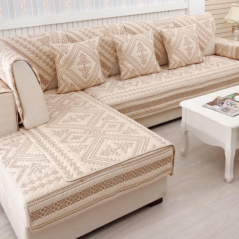 Cotton Embroidered Sofa Covers Sofa Towel Plaid Four Seasons Couch