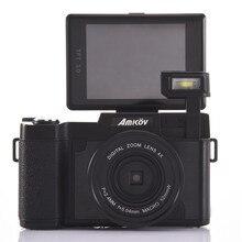 Amkov 24MP Digital Camera 1080P HD Shoot 4 Times Digital Zoom Beauty Self-timer Camera 180 Degree Camera Fotografica Digital